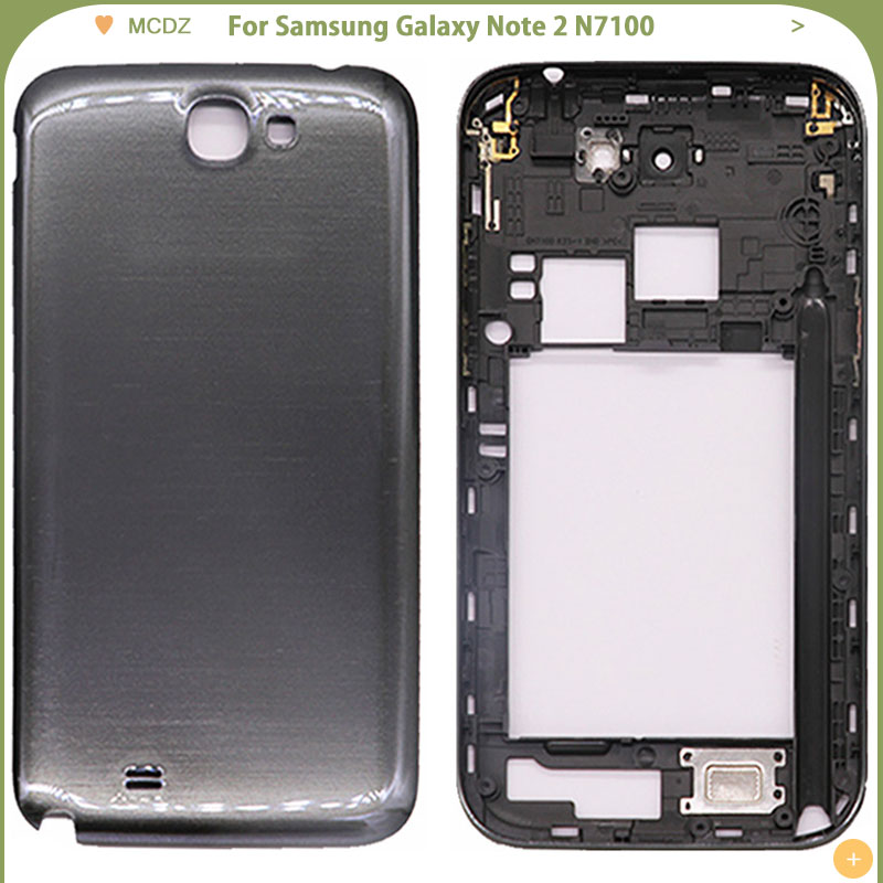 New N7100 Middle Frame + Back Door Battery Cover For Samsung Galaxy Note 2 GT-N7100 Mobile Phone Full Housing Mid Bezel