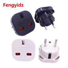 1 piezas negro/blanco 2 PiN enchufe de pared enchufe UK a UE europa UNiVERSAL cargador de viaje enchufe adaptador convertidor(China)