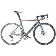 Opony SAVA Raod rowery węgla rower szosowy rowerowy hamulec tarczowy rowerów wyścigowych carbono race bike hydrauliczny hamulec tarczowy rower szosowy z SHIMANO 105 R7000 tanie tanio Unisex Carbon Fibre Aluminum Alloy Road Bike 150-180 cm Double Disc Brake 0 1 m3 Zwyczajne pedału 150 kg 14 5kg Nie Amortyzacja
