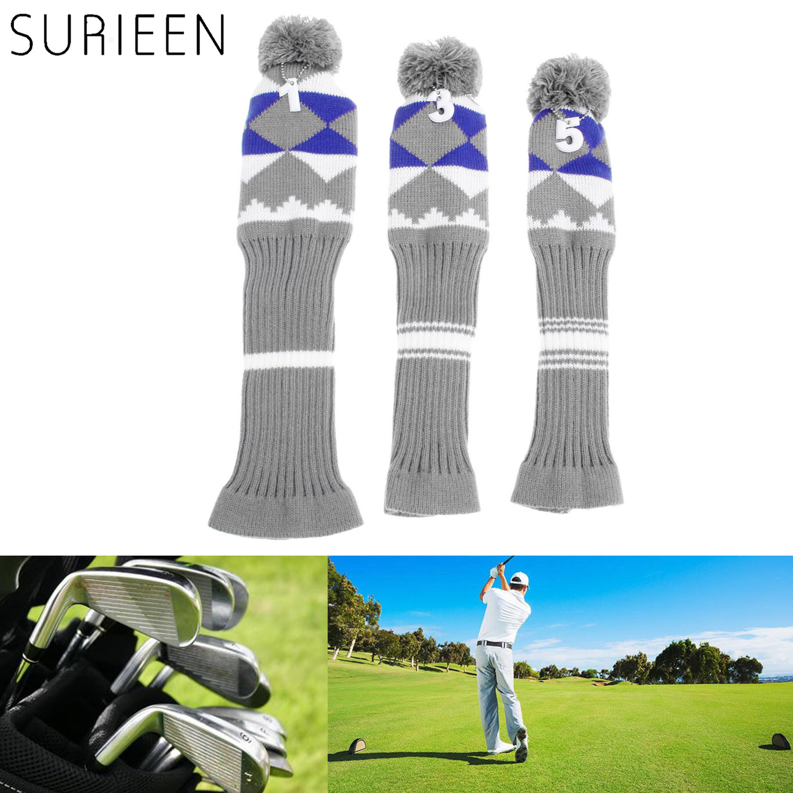SURIEEN 3 Pcs Pom Pom Golf Woods Club Head Covers Headcovers Knitted Long-neck Sock Golf Club Cover Headcover Soft Protect Set