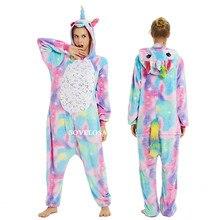 2019 Unicorn Pajamas Onesie Women Kugurumi Panda Winter Flannel Pajama Kigurumi Adult Nightie Stitch Unicornio Sleepwear Overall
