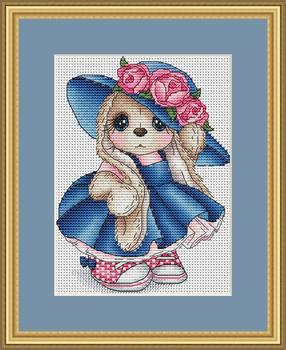 Robótki 14CT 16CT ściegiem krzyżykowym majsterkowanie ściegiem krzyżykowym zestaw do haftowania różany królik tanie i dobre opinie Zwierząt PACKAGE Obrazy Składane 100 COTTON Other