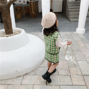 Image 3 - 2019 الخريف جديد وصول الكورية نمط مجموعة ملابس منقوشة سترة مع تنورة صغيرة أزياء الأميرة دعوى للفتيات طفل الحلو