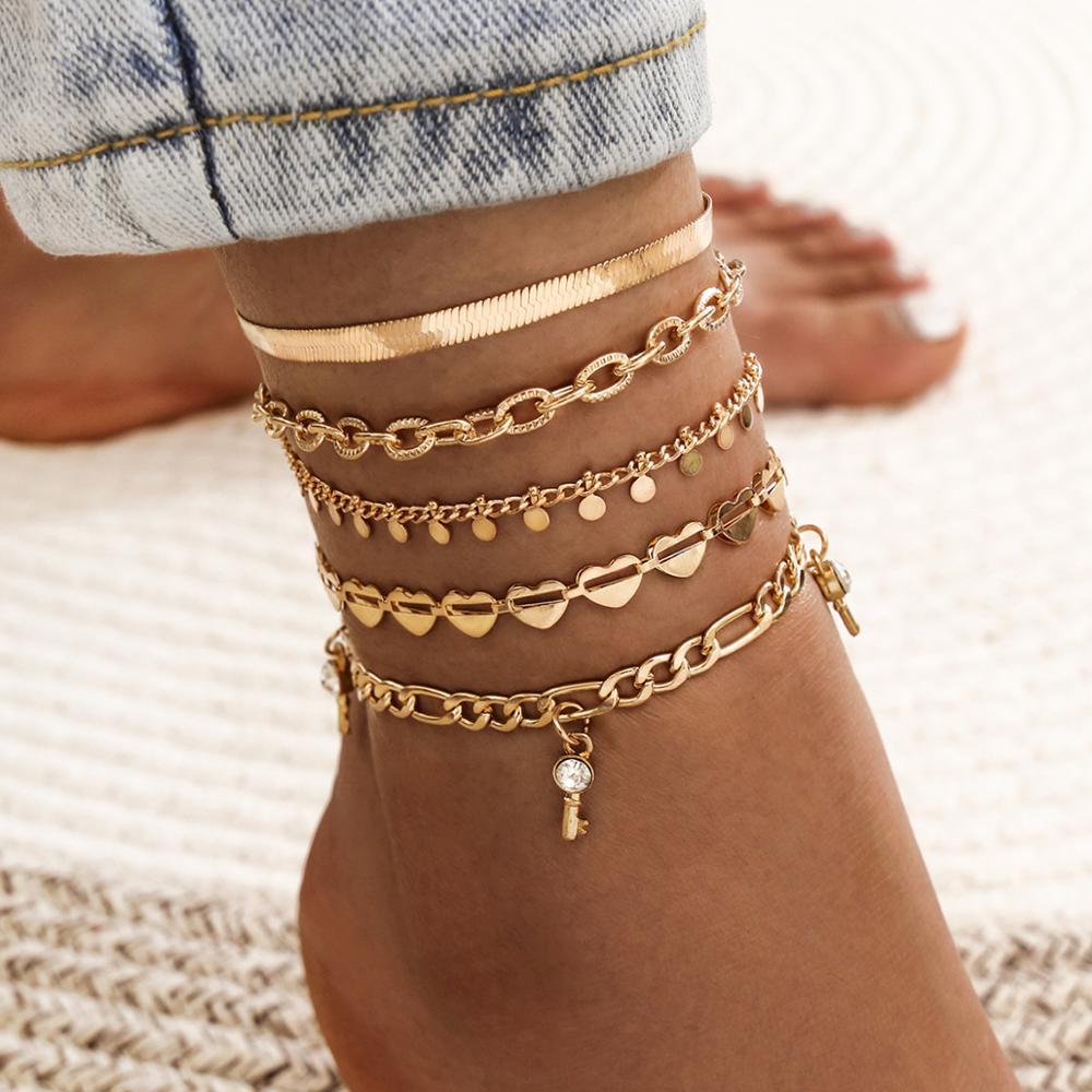 Boho Ankle Bracelet Zircon Multilayer Heart Key Anklet Barefoot Beach Accessories Leg Bracelet Foot Jewelry For Women 2020
