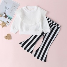 цена на Lovely Children Set 9M-5T Baby Girl Clothes Autumn Long Sleeve Solid Color Top Striped Boot Cut Pant Two Pieces Sets #m