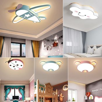 Modern LED Ceiling Light Fixtures with Remote Control Scandinavian Pink Blue Ceiling Lamp for Kids Room Girls Boys Child Bedroom modern black home bedroom room light lamp led children baby teen kids room ceiling light 220v light fixtures with remote control