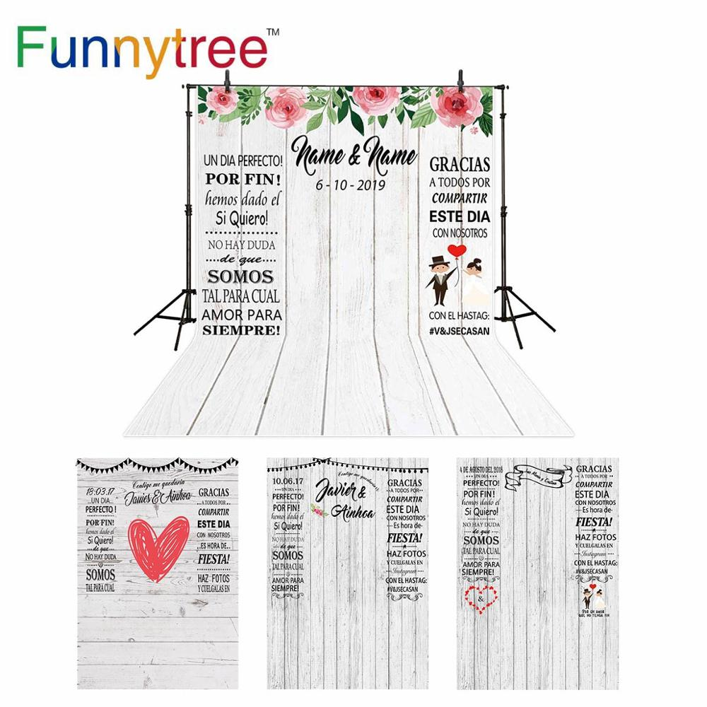 Funnytree photocall wedding backdrops rose white wood custom information photography Photo background photophone wallpapers