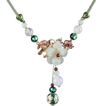 Necklaces Women Jewelry Chain Pendant Charms Collar-Rope Blossoming-Petal Flower Garnet-Stone