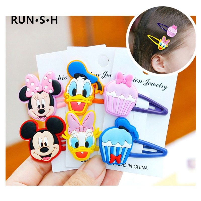 1Pairs Baby Girls Cute Mickey Minnie LOL Hair Clip Cartoon Hairgrips Hairpin Hair Accessories Kids Christmas Gifts BB Bows