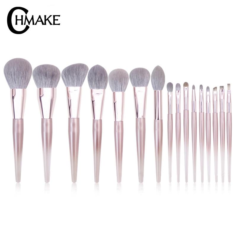 CHMAKE 16pcs acrylic Rose Gold Makeup brushes set Professional Beauty Make up brush Foundation Powder Blusher brush Goat hair-in Eye Shadow Applicator from Beauty & Health    1