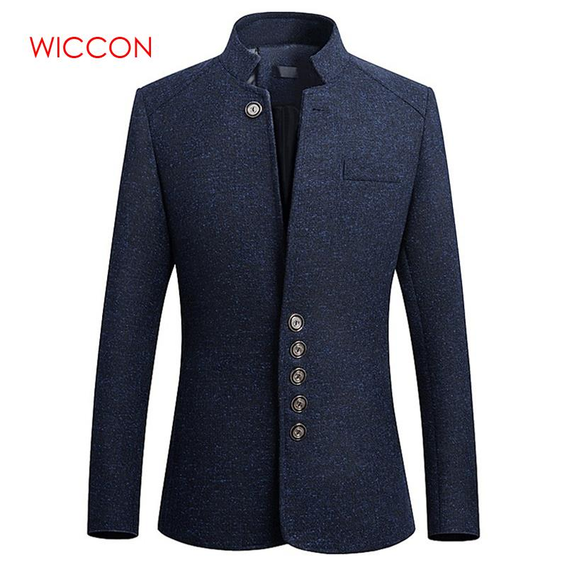 New Vintage Blazer Men 2020 Plus Size Chinese Style Business Casual Stand Collar Male Blazer Slim Blazer Jacket