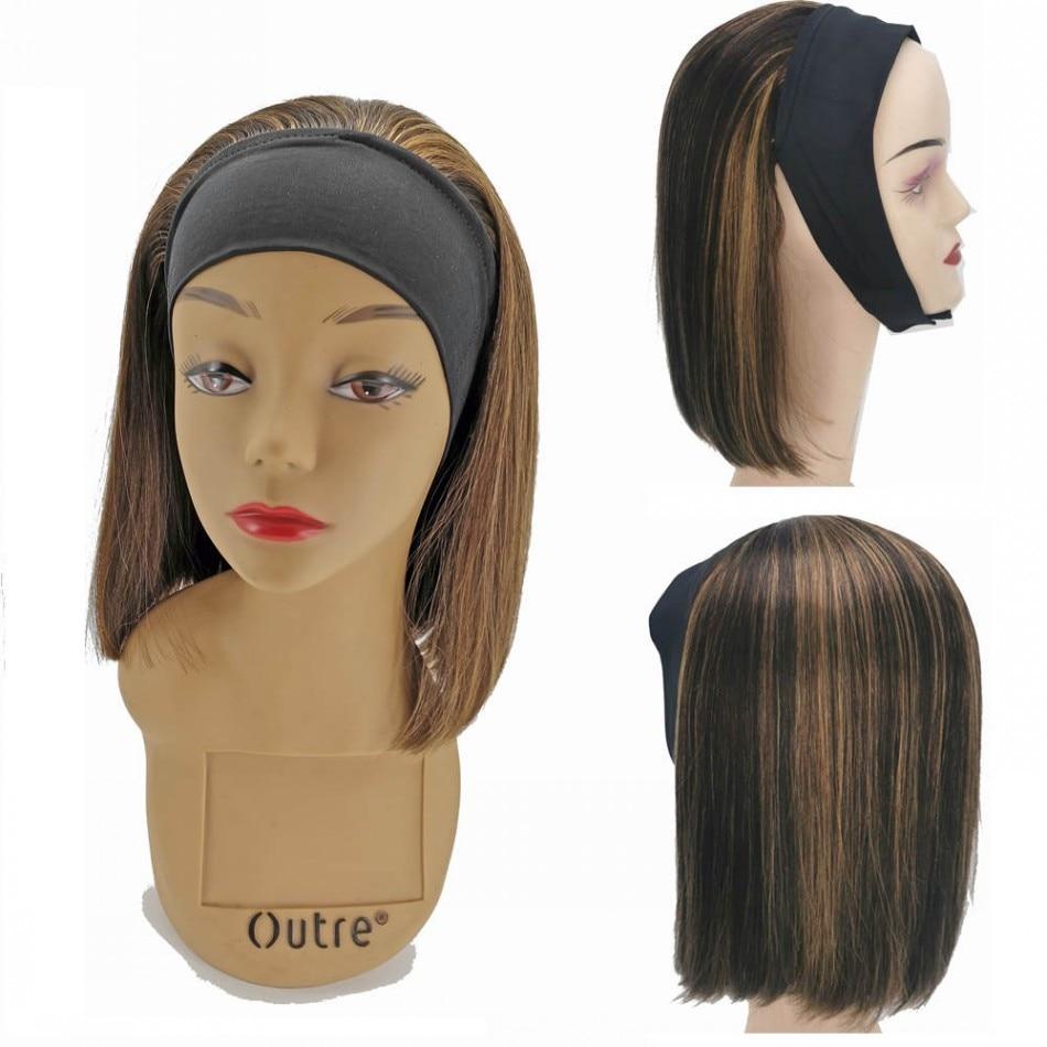 Human Hair Headband Wigs Extension Straight Bobo Wave Headband Hair Wig Brazilian Virgin Remy Human Hair Wigs For Women