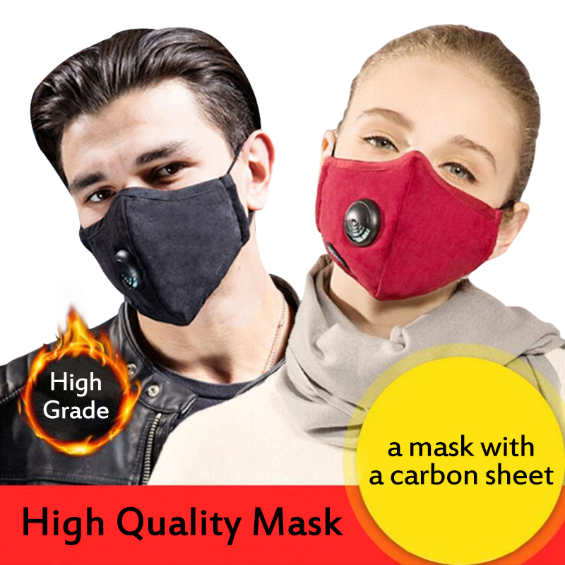 Antscope Professional Dust Mask With Valve + KN95 Carbon Cloth 4 Layers To Protect The Fashion Decorative PM 2.5 Protective Mask