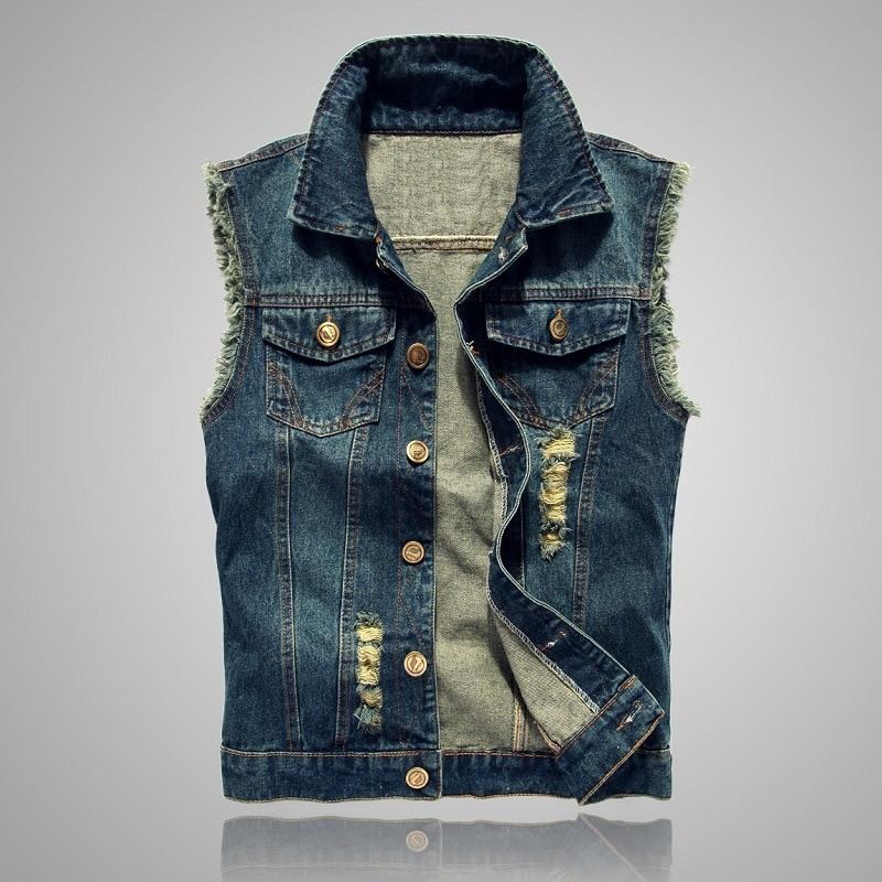 Men's Sleeveless Denim Vest Single Button Tide Coat Hole Waistcoat Autumn Streetwear Fashionable Jackets Oversized 6XL