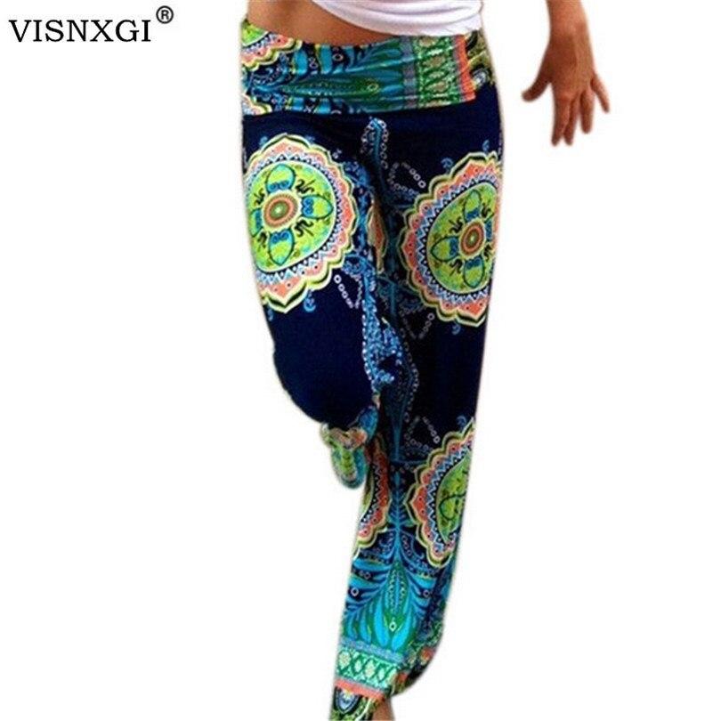 Hot Women Clothing Big Abstract Flowers Print Vintage Ladies Superelastic Trousers Wide Leg Patchwork Female Pants Bohemian K108