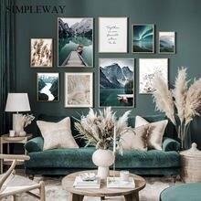 Pintura en lienzo de paisaje de viaje escandinavo, cuadro de arte de pared con impresión de hierba de bote Montaña, póster nórdico, decoración para sala de estar moderna