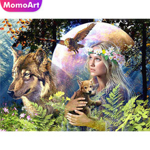 MomoArt Diamond Painting Beauty Girl And Wolf Mosaic Cartoon Embroidery Full Square Home Decoration