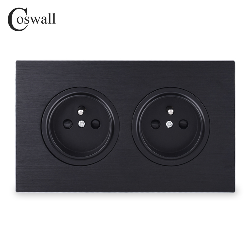 Coswall Luxurious Black Aluminum Panel 16A Double French Standard Wall Power Socket Grounded With Child Protective Lock 146 Type