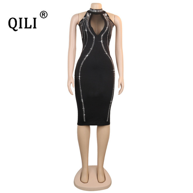QILI Women Sexy Party Dress Sleeveless Backless Diamonds Rhinestone Dresses Black See Through Mesh Bodycon Dress Femme S-5XL 6