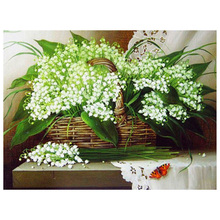 5D Diamond Painting White Flower Full Circular Embroidery Picture of Rhinestone Home Decoration
