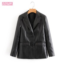 PU Black Motorcycle Lapel Long Sleeve Windproof Chic Female Coat Fashionable Single-breasted Professional Women's Jacket(China)
