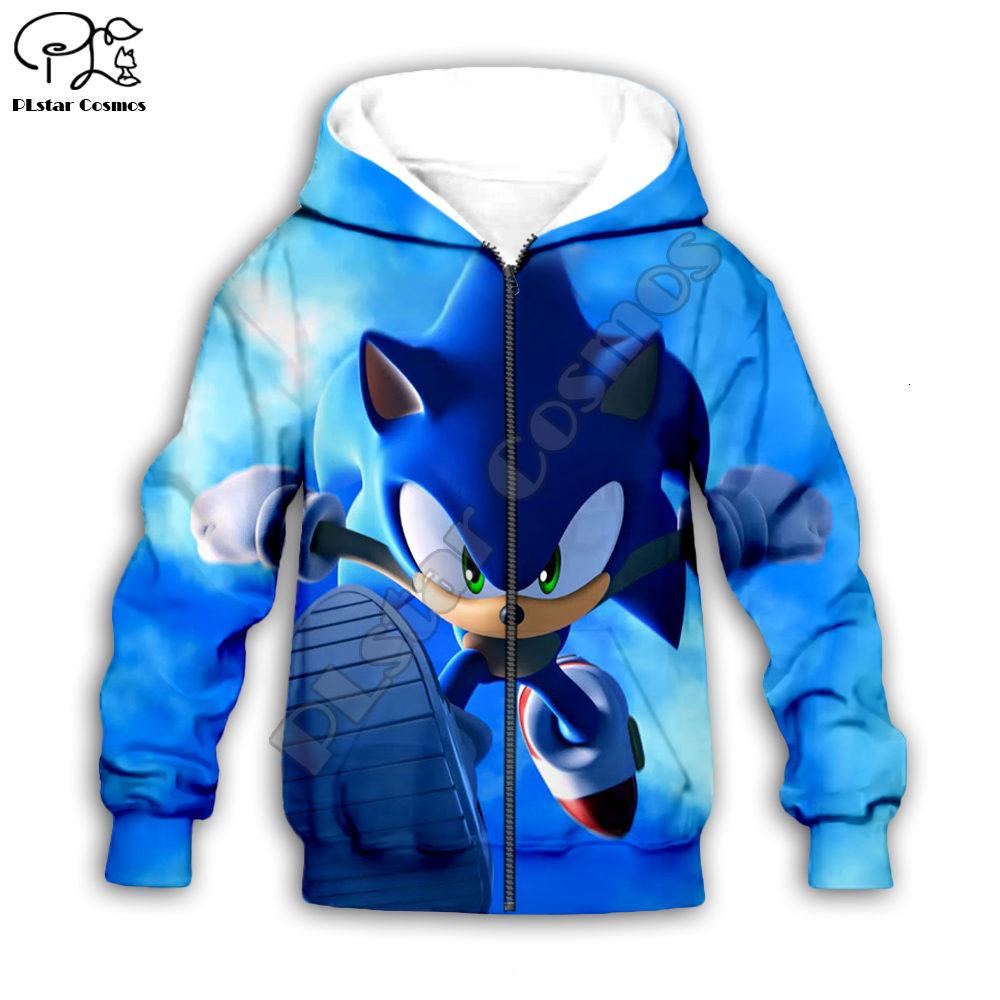 family shirts Anime Super Sonic 3d Hoodies Children zipper coat Long Sleeve Pullover Cartoon Sweatshirt set suit Hooded/pants