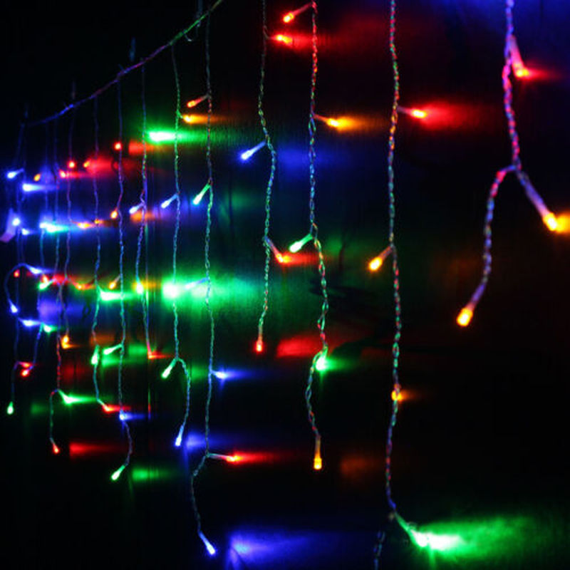 Christmas Garland LED Curtain icicle String Lights 5M Droop 216LED Fairy Lights 220V Party Garden Holiday Indoor Decorative in Lighting Strings from Lights Lighting