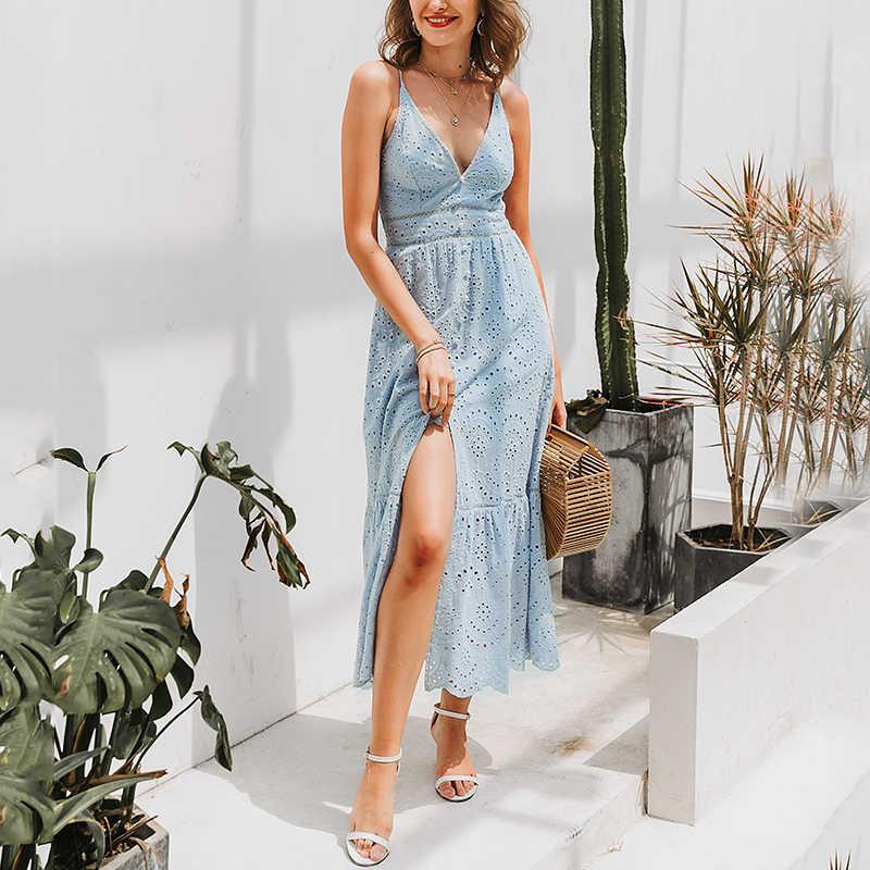 Affogatoo Cổ V Gợi Cảm Cotton Mùa Hè Áo Trắng Nữ Thêu Hoa Sang Trọng Dây Đeo Dài Váy Đầm Cao Cấp Nút Đầm Nữ