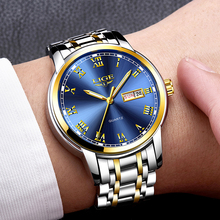 LIGE Luxury Brand Men Stainless Steel Gold Watch Men's Quartz Clock Man Sports Waterproof Wrist Watches relogio masculino new lige watches men luxury brand fashion men s sports quartz watch man waterproof full steel gold wrist watch relogio masculino