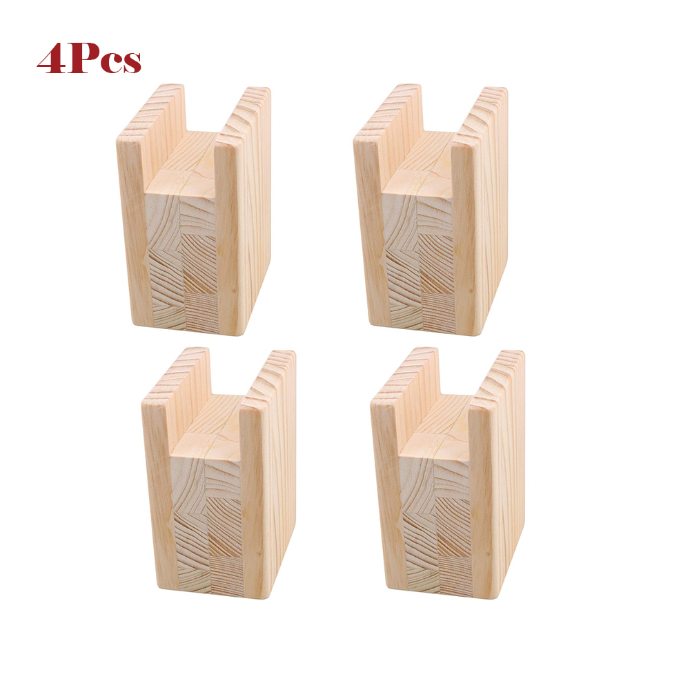 4Pcs 10x7x13.5cm Up To 10CM Lift Wood Table Desk Cabinet Bed Risers Lift Furniture Lifter Storage For 4CM Groove Feet