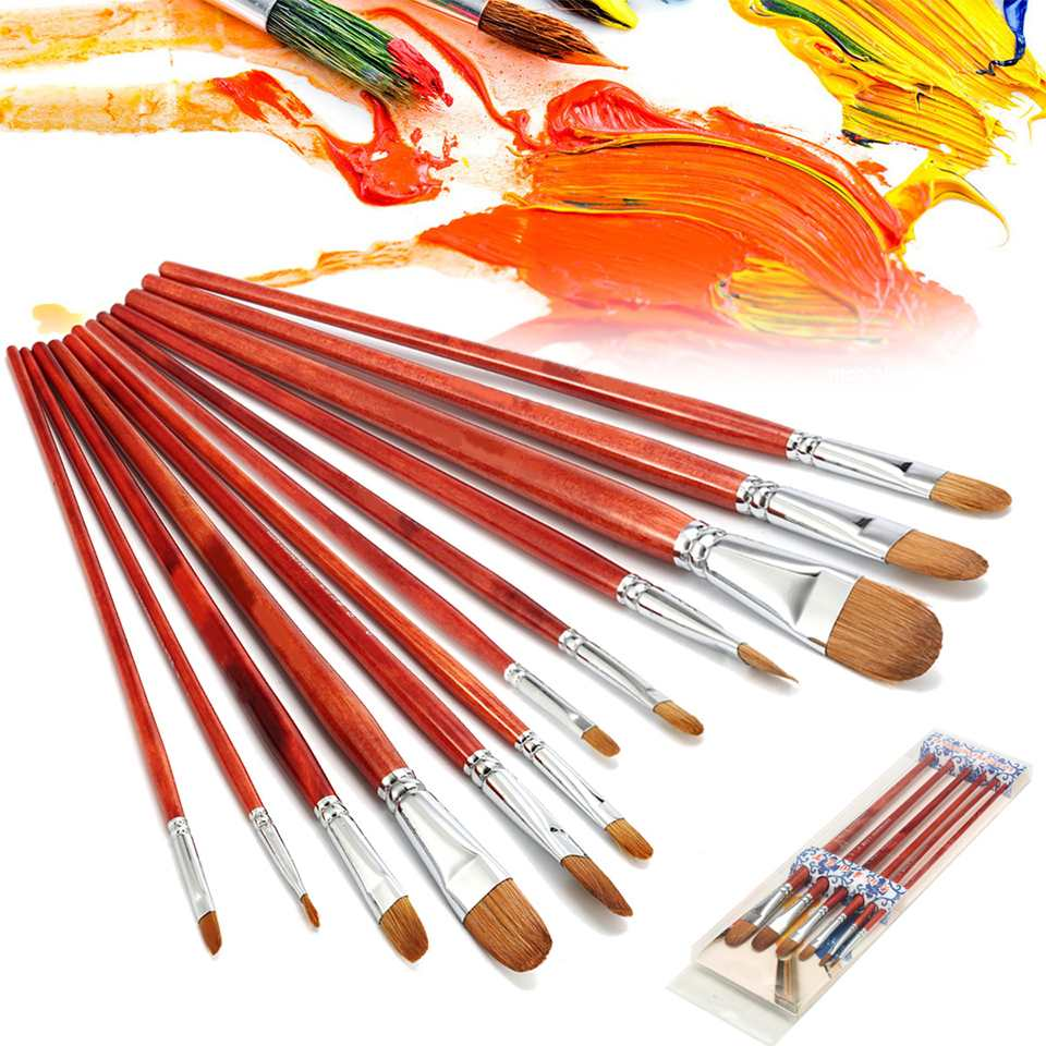 6Pcs Artist Painting Brushes Kit Red Sable Hair Watercolor Acrylic Oil Paint Brush Wooden Pens Painter Students Drawing Supplies