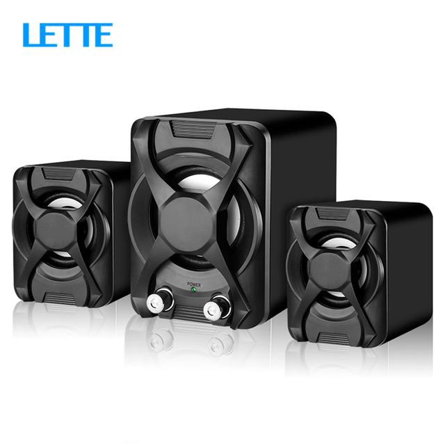 USB + AUX Wired Computer Subwoofer Speakers 5W+3W*2 Set Bass Reinforcement Stereo 2.1 Speakers for PC Phone Loudspeaker