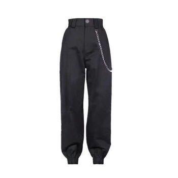 ¡Novedad de 2020! Pantalones Cargo Lisa y negra para mujer, pantalones de chándal para llevar en la calle, pantalones de baile de Jazz para mujer, pantalones para correr informales para mujer Harajuku