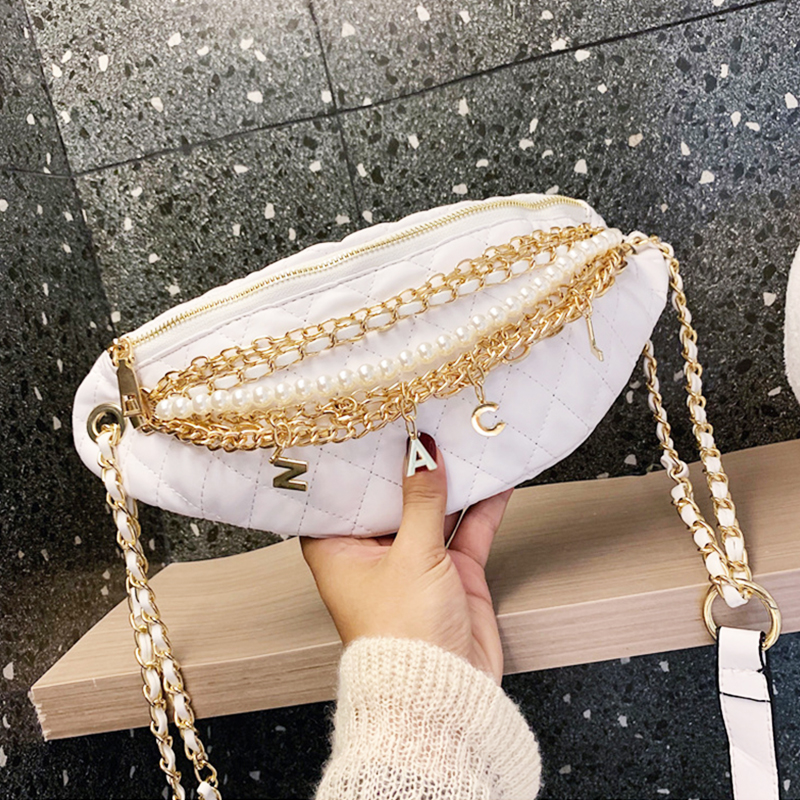 Women Luxury Waist Bag Pearl Chain Fanny Pack High Fashion Leather Belt Bags Banana Bag Brand Female Crossbody Pack Handbags