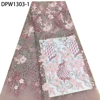 African Lace Fabric High Quality 3D Flower Lace Embroidered Nigerian Wedding Lace Fabric French Tulle Lace Fabric DPW1303