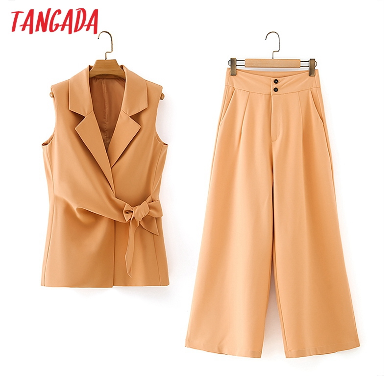 Tangada-Conjunto de chándal para mujer, pantalones y chaleco naranja, conjunto de 2 piezas, chaqueta sin mangas, pantalones, DA29, 2020