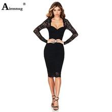 Aimsnug Sexy Lace Solid Black Long Sleeve Zipper V-neck Strapless High Waist 2019 Autumn Winter Elegant Women Knee-Length Dress