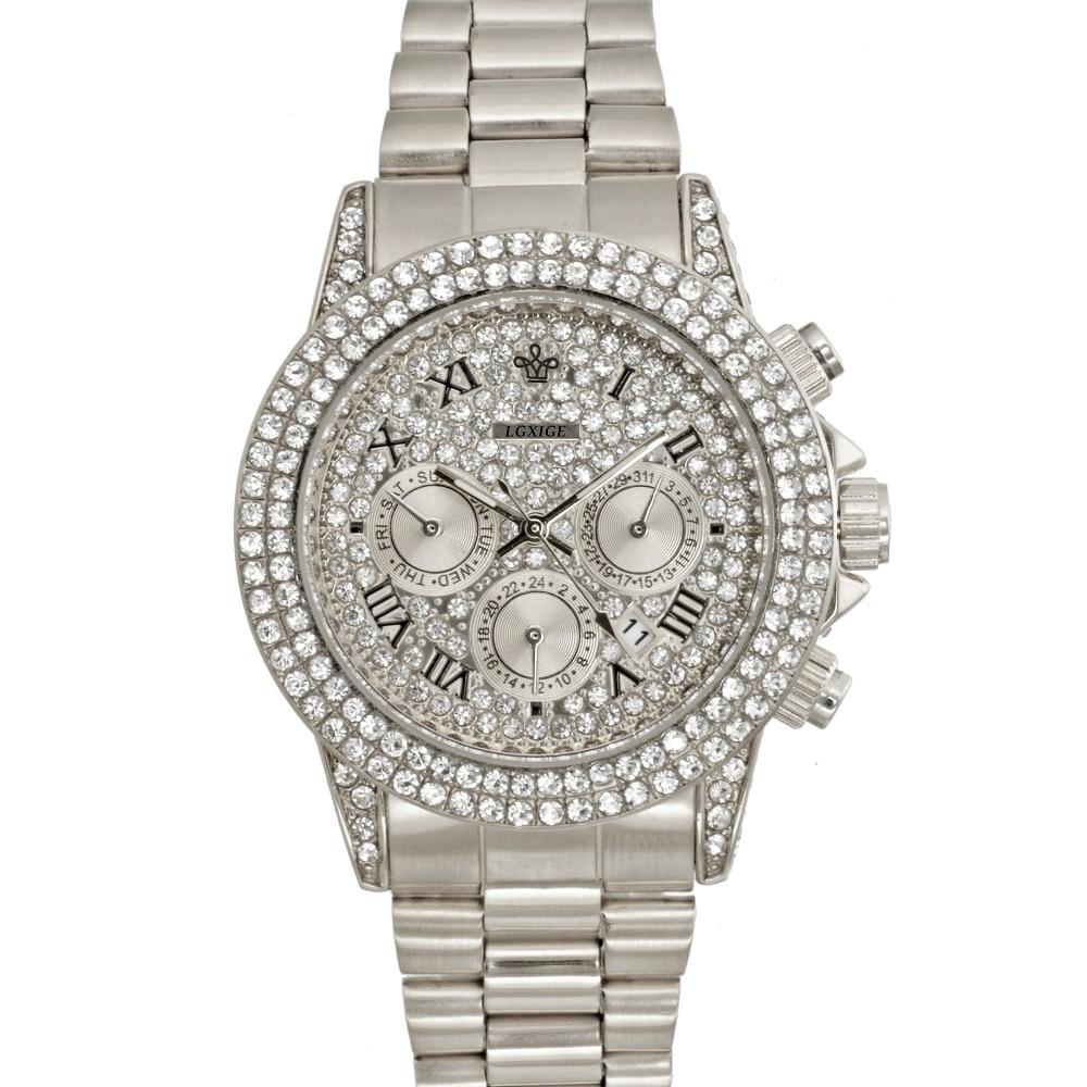 Часы мужские полностью из 18-каратного золота, роскошные Брендовые мужские часы с бриллиантами, роскошные мужские кварцевые часы с ремешком, 2020 2