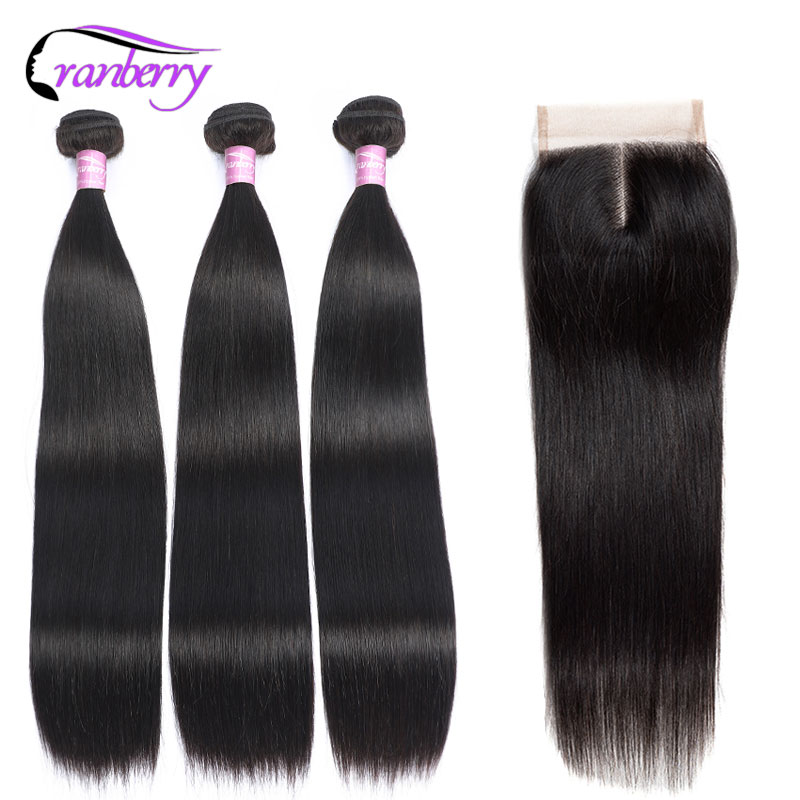 CRANBERRY Brazilian Straight Hair 3 Bundles With Closure 100% Human Hair Bundles With Closure Non Remy Human Hair Extensions