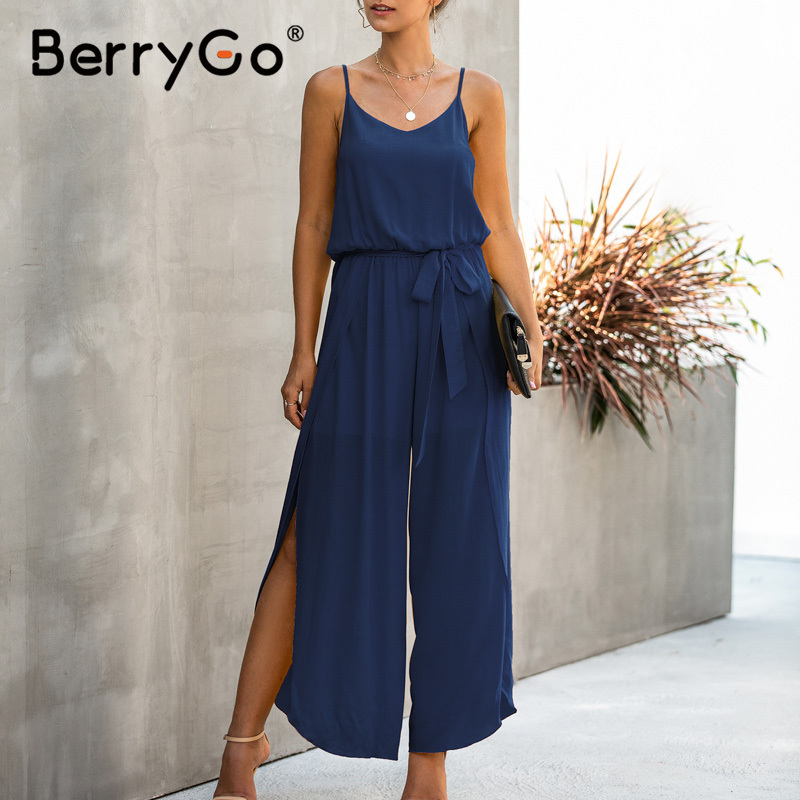 BerryGo Sexy V-neck Spaghetti Strap Rompers Womens Jumpsuit High Waist Sash Solid Casual Overalls Summer Style Boho Playsuits