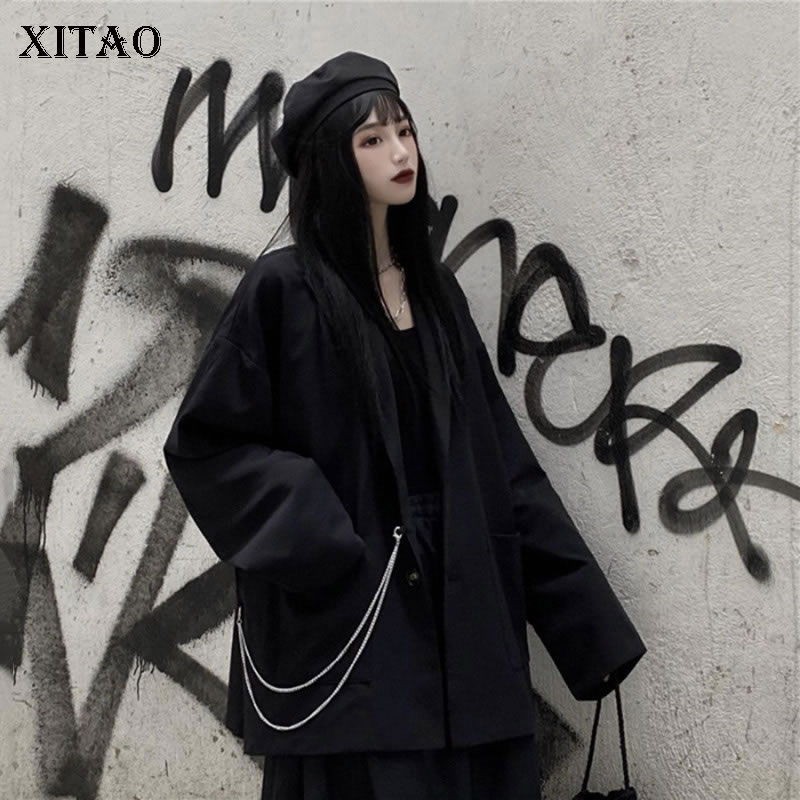XITAO Black Women 2020 Elegant Black Full Sleeve Pocket Single Breast Small Fresh Women Spring Loose Minority Coat DMY2974