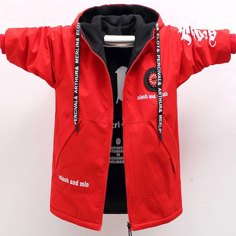 2019 new children's double-sided plus cotton jacket boys mid-length windbreaker boy fashion jacket