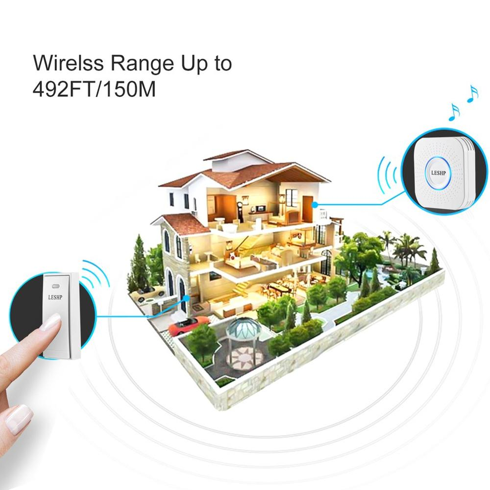LESHP Easy to Install Music Wireless Doorbell 150M Long-distance Remote Control Night Light 58 pieces of Chord Music image