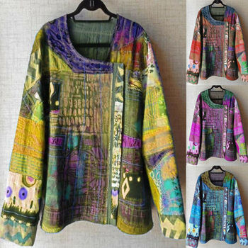 Women Boho Ethnic Style Tops Blouse Ladies Long Sleeve U Neck Casual Plus Size Ladies Casual Colorful Top Shirt Clothing