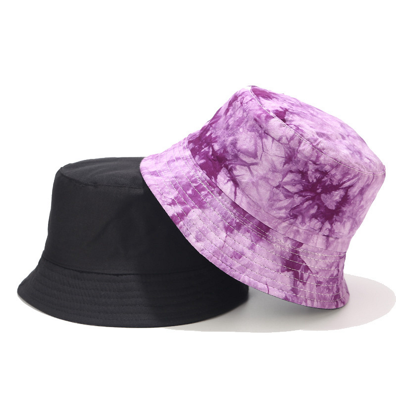 Hat Women New Tie-dyed Ink Painting Pattern Fisherman Hat Men And Women Street Trend Double-sided Wearing Cap Visor Bucket Hat