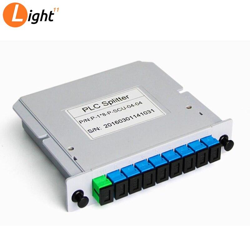 Splitter Fiber Optical Box FTTH PLC Splitter Box With 1X8 Planar Waveguide Type Optical Splitter SC APC