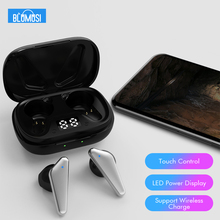 BluMusi Bluetooth 5.0 Wireless Headphones Earphones TWS Hifi Headset Bass Earbud with Power Display Touch Control for Smartphone