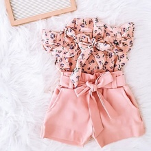 1-6Y Fashion Baby Clothing Sets Kids Girls Floral Print Shirt Tops Bow Shorts Suit Summer Children Clothes Set