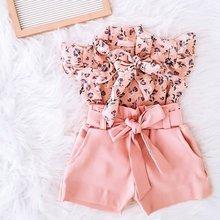 1-6Y Mode Baby Kleidung Sets Kinder Mädchen Floral Print Shirt Tops Bogen Shorts Anzug Sommer Kinder Kleidung Set