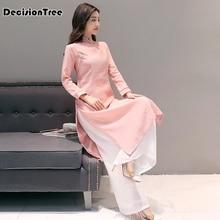 все цены на 2019 ao dai cheongsam folk style vietnam chiffon aodai graceful stand collar elegant women chinese traditional dress suit онлайн